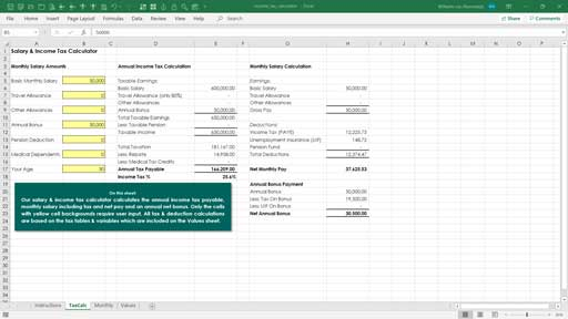 tax calculator excel template